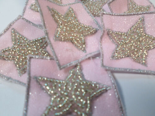 Pack of 10 Square Bead Pink Star Baby Girl Card Making Art Craft Motif #12L155