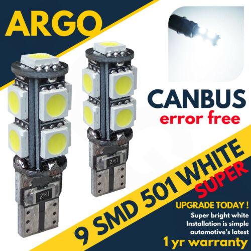 501 194 Canbus Led Power Xenon White High T10 W5W Capless Sidelight Bulbs 6000k
