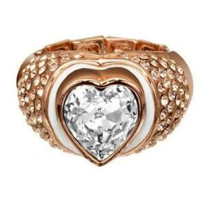 GUESS-Anello-Donna-Jewels-UBR41107L-fascia-acciaio-pvd-oro-rosa-cristalli-cuore