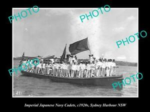 OLD-POSTCARD-SIZE-PHOTO-OF-JAPANESE-NAVY-CADETS-IN-SYDNEY-HARBOURS-c1920s