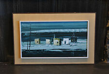 VYTAS REMEIKA (1930-1972) OIL PAINTING ARTIC HUTS ICE FIELDS CANADA  DEEP BLUES