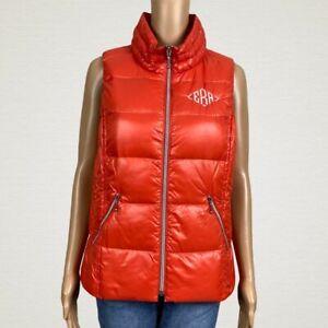 Coatology-Down-Filled-Puffer-Vest-Jacket-LARGE-Bright-Orange-ERA-Intitals-Name