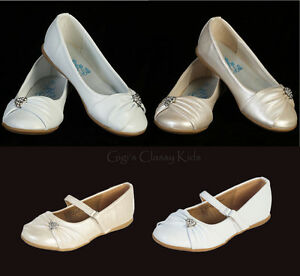 New Toddler Kids Youth Girls Ivory White Dress Shoes Flats Wedding ...