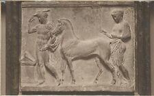 RP postcard Ancient Greek frieze bas-relief tomb? man woman horse altar interwar