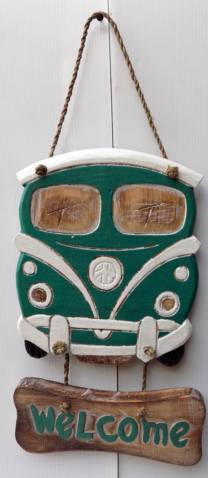 van Volkswagen Volkswagen van   vert en bois 45x18x1 ethnique Van coccinelle 45ee6b