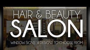 Salon de coiffure Enseigne Vitrine Autocollants Graphiques ...