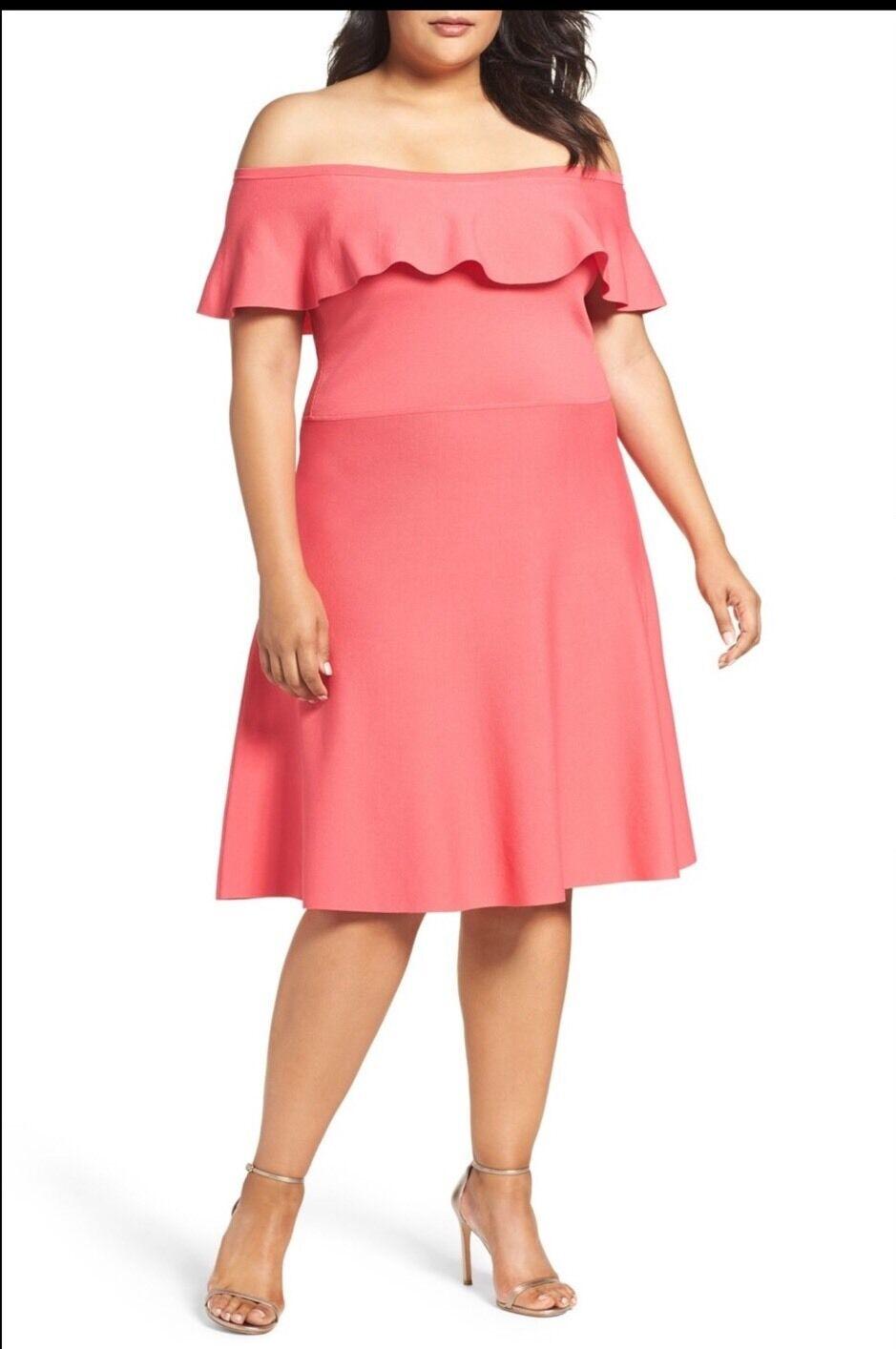 NWT Eliza J Off the Shoulder Dress Plus Size 2X Coral