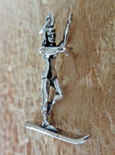 Sterling Silver 3D 27x18mm FEMALE GIRL Water Ski Skieur charme