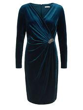 Womens Jacques Vert Velvet Cocktail Blue Dress Size 16 Petite RRP £249 box5558 D