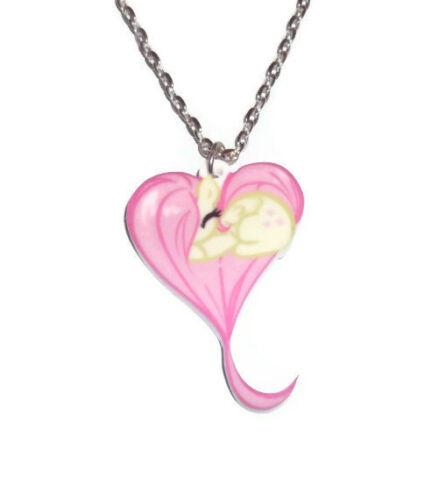 forma de corazón Colgante de Poni de dormir Kawaii Lindo MLP PERSPEX Fluttershy collar