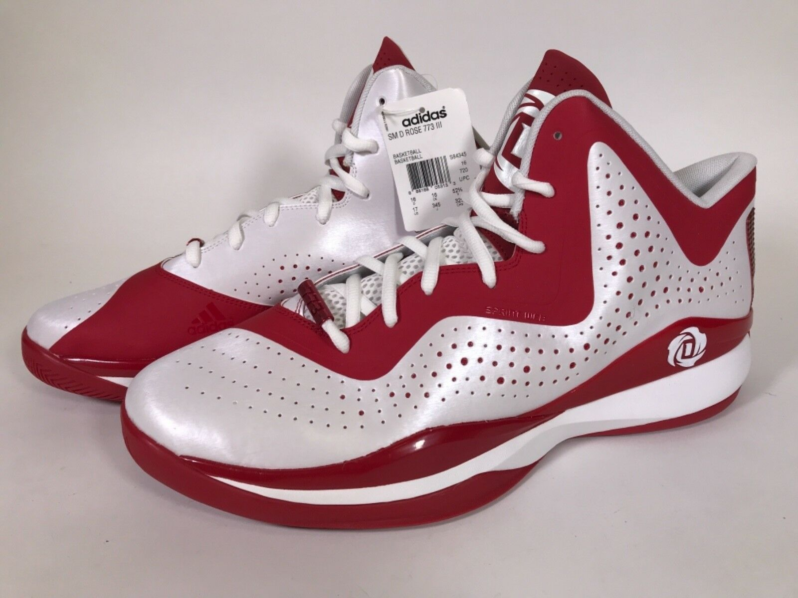 bc4b2b2944d Adidas SM D Rose Rose Rose 773 III Basketball Shoes Size 17 Red   White  d64127