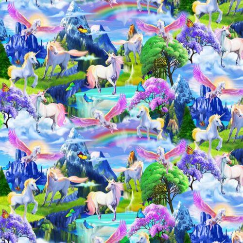 Fabric Rainbows /& Unicorns Timeless on Cotton by the 1//4 yard