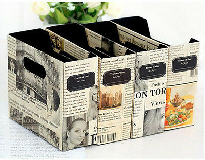 DIY Paper Board Newspaper Storage Box Desk Stationery Makeup Cosmetic Organizer