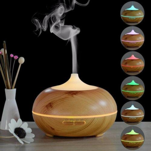 300ml Holz Humidifier Aromatherapie Diffuser Ultraschall-Luftbefeuchter 7 Farben