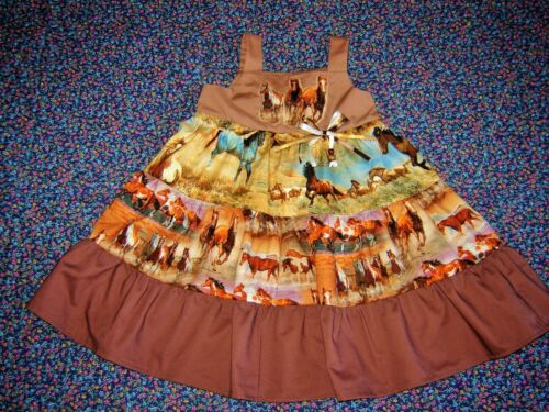 3T 4T Boutique Girls Country shirt top twirl Cowgirl Wild Horses Dress 2T
