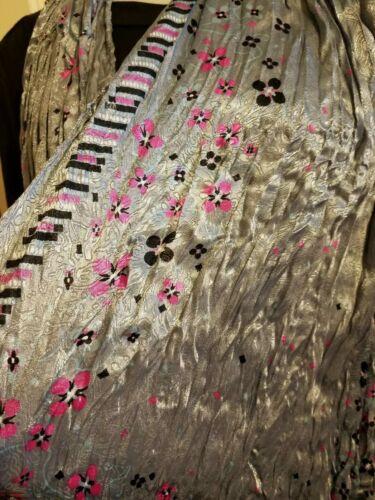 "SILVER Pink floral NECK SCARF//WRAP 100/% PASHMINA 65/""X21/"""