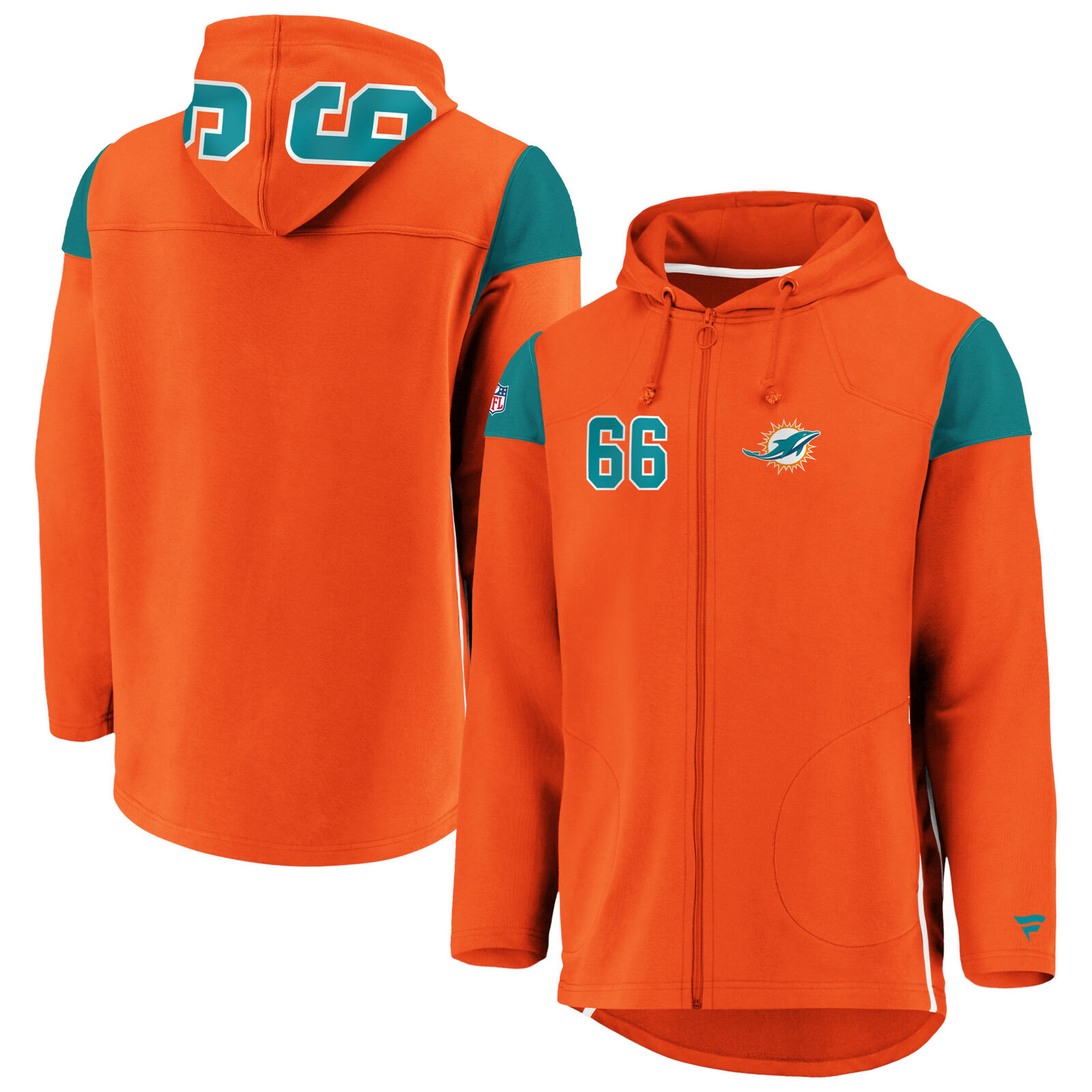 Miami Dolphins Franchise Full Zip Sport Sweater Hoodie Hoody - Mens
