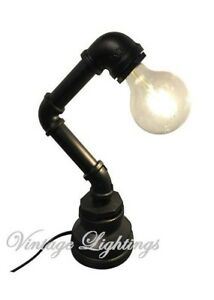 Hand Made Pipe Desk Table Lamp Vintage Industrial Style Retro