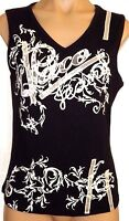 Paco Jeans L, Xl,3xl Black & White Sequined Embroidered V-neck Knit Tank Top