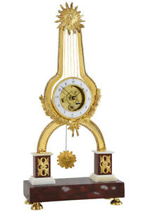 PENDULE-LYRE-Kaminuhr-Empire-clock-bronze-horloge-antique-cartel-uhren