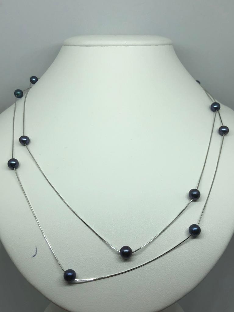 VINTAGE VINTAGE VINTAGE 9ct oro bianco perla Tahiti catena lunga 7dd54d