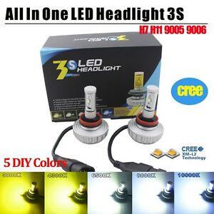 cree all in one fanless car led headlight bulbs 3s h7 h11 9005 9006 diy 5 colors ebay. Black Bedroom Furniture Sets. Home Design Ideas