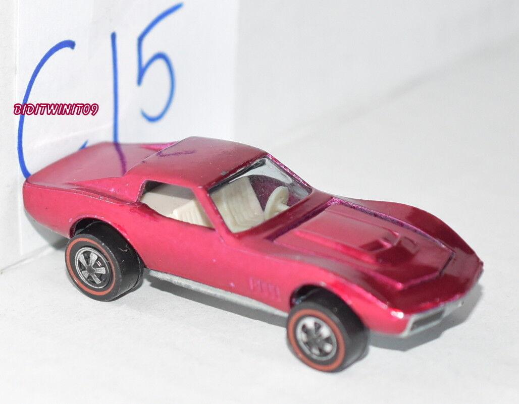 Hot Wheels Vintage Rose rougeline 1968 Personnalisé Corvette Loose W +