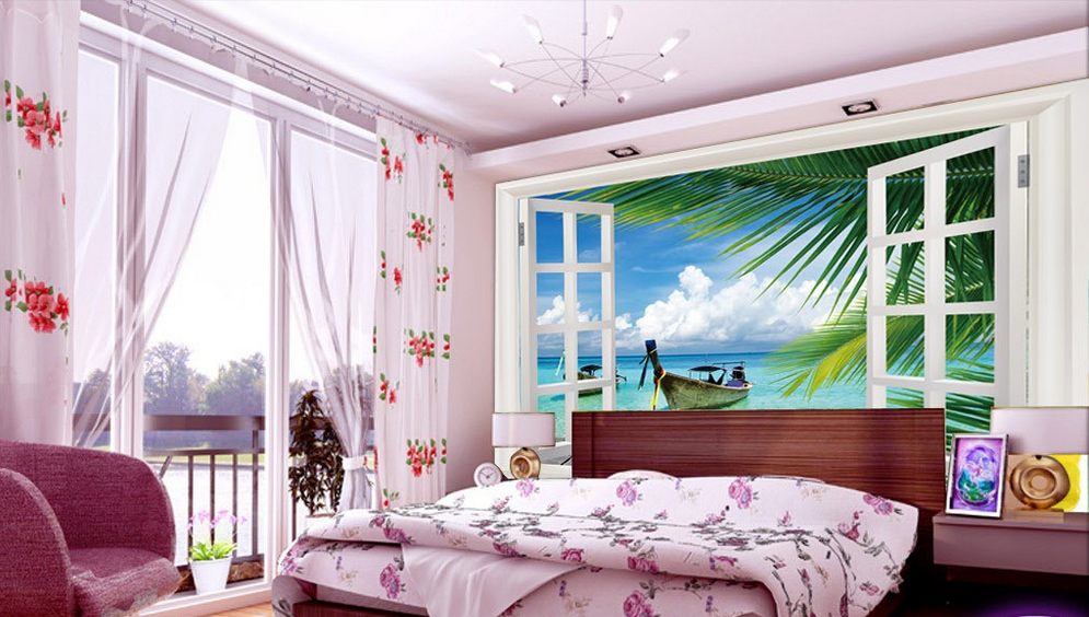 3D Windowsill Ship Seaside 5574 Wall Paper Wall Print Decal Wall AJ WALLPAPER CA