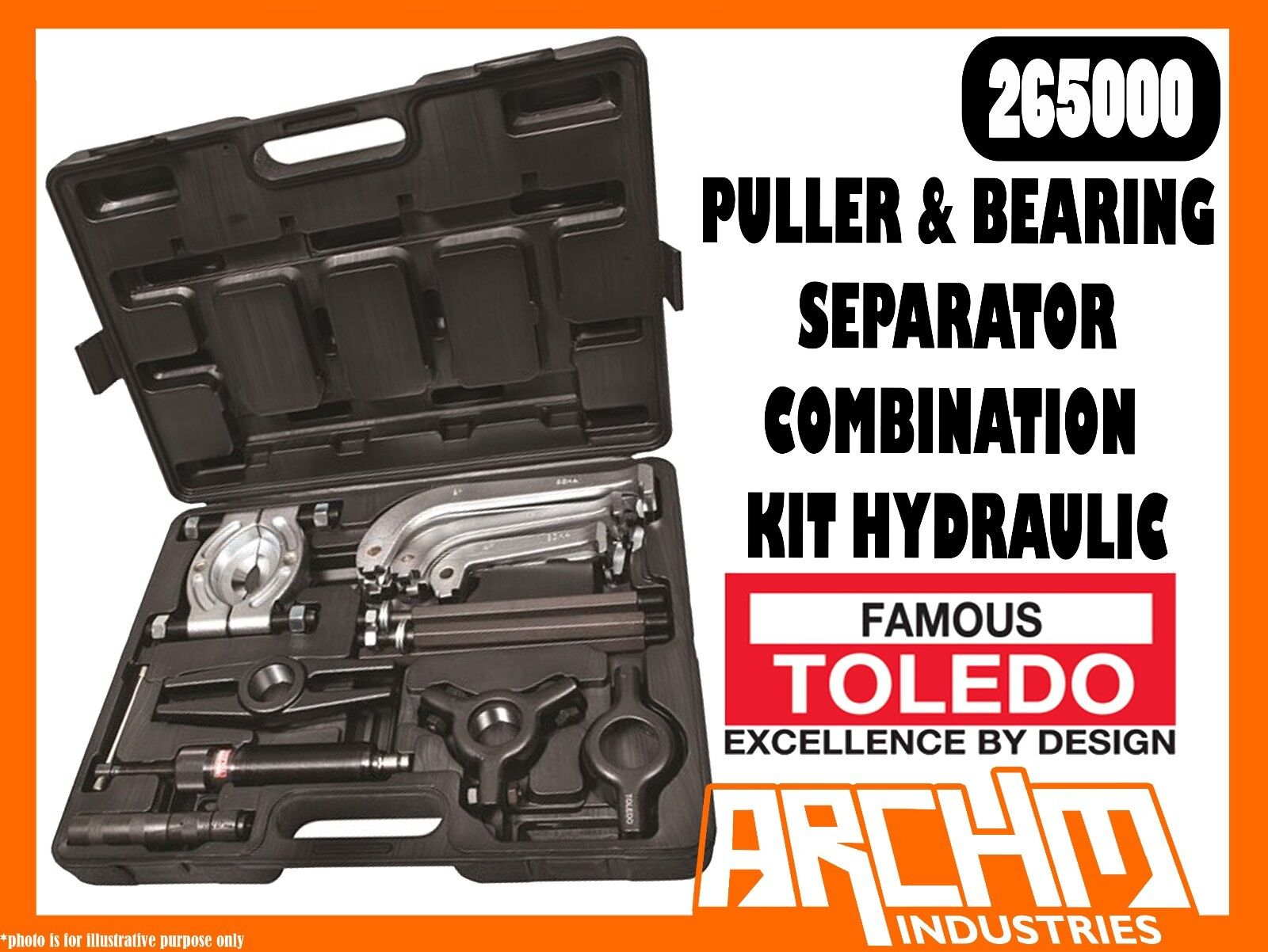 TOLEDO 265000 - PULLER & BEARING SEPARATOR COMBINATION KIT HYDRAULIC - UNIVERSAL