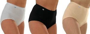 12-Ladies-Maxi-Briefs-Marlon-Design-Brief-Soft-Cotton-Plain-Blend-Knicker
