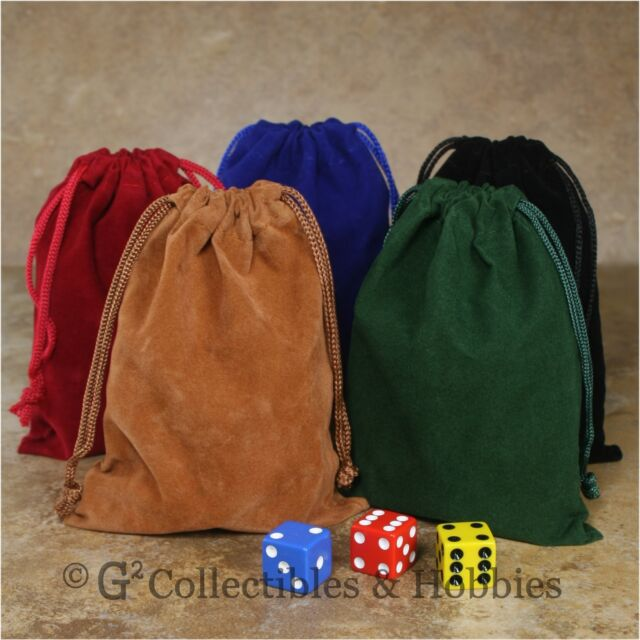 """NEW Set of 5 Dice Bags 4"""" x 5.5"""" Velveteen Cloth Bag RPG D&D Game Counter Pouch"""