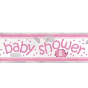 Rose-Baby-Shower-12-ft-environ-3-66-m-Foil-Banner-Party-Decoration-Bunting-mur-fille-elephant