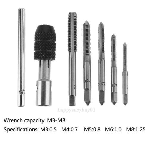 6pc M3//M4//M5//M6//M8 T-type Screw Thread Tap Wrench Cutting Plug Machine Set Tool