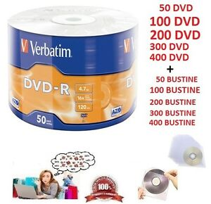 400-50-DVD-R-VERBATIM-VERGINI-VUOTI-16X-Advanced-dvdr-4-7-GB-BUSTINE-PVC