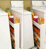 Slideout Storage Tower Organizer Slide Out Slim Narrow Space Laundry Kitchen NEW