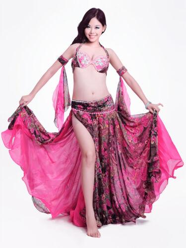 New Belly Dance Costume Outfit 4 Pics Bra/&Belt/&Skirt/&Armbands 34B//C 36B//C 38B//C
