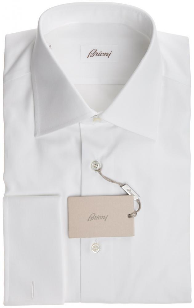 Brioni Dress Shirt French Cuff Superfine Cotton 15 3/4 40 Weiß 03SH0257 595