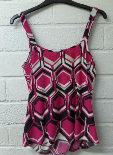 Womens Ladies New Black /& Pink Geometric Sleeveless Wrap Vest//Top//Blouse 8-18