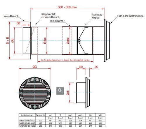 Mauerkasten NW 150 Teleskoprohr Edelstahl Gitter Rückstauklappe MKWSRLE