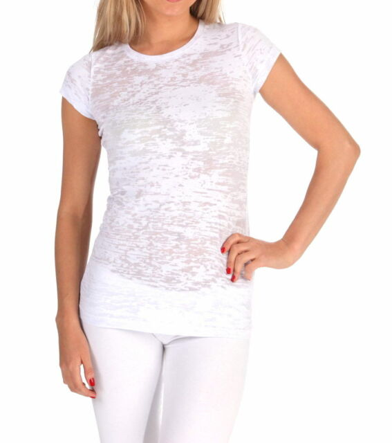 E.vil Womens Burn Out T Shirt Top White Copper Peace Sign Size Small