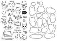 Hero Arts purr Cats Clear Stamp & Frame Cuts Die Bundle