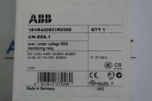 ABB 1SVR430831R0300 CM-ESS.1 Over// Under Voltage RMS monitoring relay