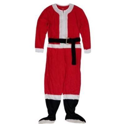 Men/'s Secret Santa Costume Fleece Union Suit Footed One Piece Pajamas Loungewear
