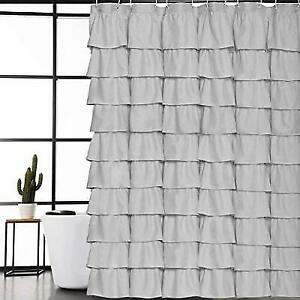 Volens Gray Grey Ruffle Shower Curtain Fabric Cloth Rustic Curtains For Bathroom