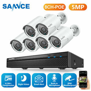 SANNCE 8CH NVR 5MP Video Audio Monitoring Home Security IP66 POE Camera System