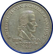 BRD 5 Mark 1955 F, 150. Todestag von Friedrich von Schiller,mit Beschreibung