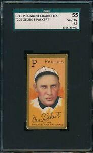 1911 T205 George Paskert Piedmont Cigarettes SGC 55 VG-EX+ 4.5 Not PSA