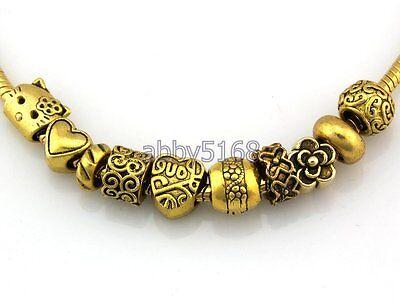 Wholesale Antique Gold Tone Bulk Lots Mix Beads Fit Charm Bracelet DJ2