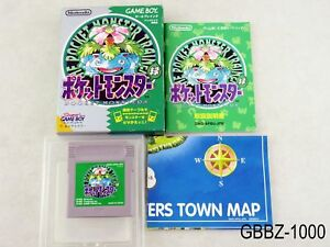 Complete-Pokemon-Green-w-map-Japan-GB-GBC-Game-Boy-Japanese-Import-US-Seller-B