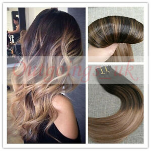 Balayage Ombre Dark Brown To Blonde Remy Seamless Clip In Human Hair